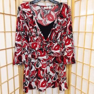 Cato White Black Red Buckle Front Top Stretch L